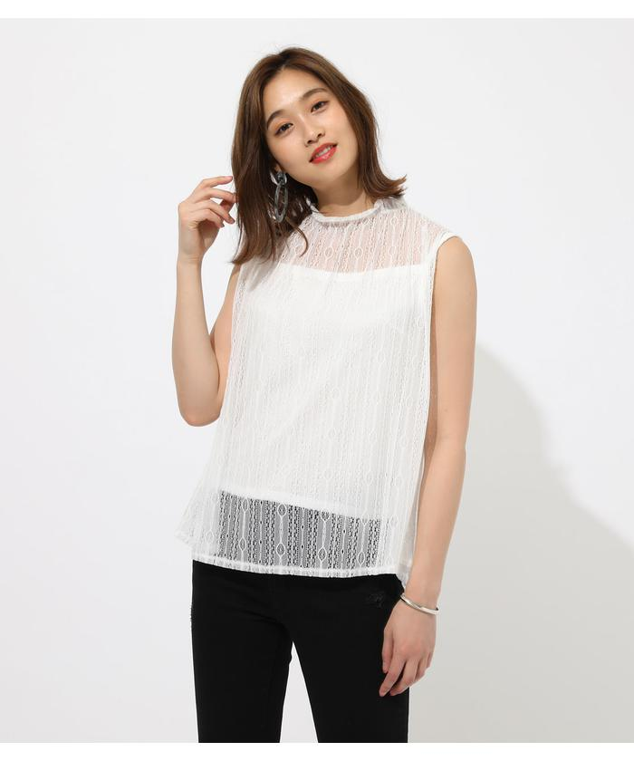 FRILL NECK LACE TOPS