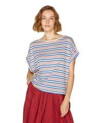 リネンコットンボーダーオーバーサイズ半袖Tシャツ・カットソー