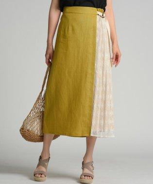 【socolla】異素材ドッキングプリーツスカート