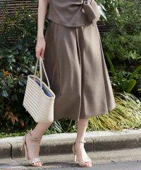 【洗える/セットアップ対応】リネンライクラップ風フレアスカート