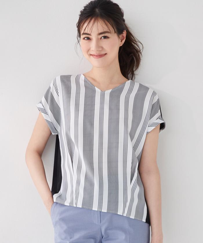 【安座間美優着用】Crossed Stripe 半袖カットソー