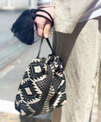 【Swaraj/スワラージ】幾何学ジャガード巾着バッグ