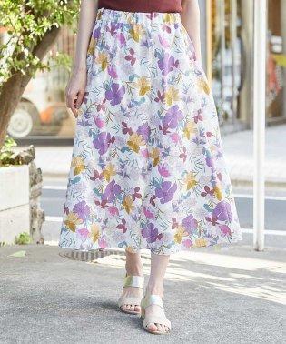 【洗える/セットアップ対応】フラワーメッシュギャザーフレアスカート