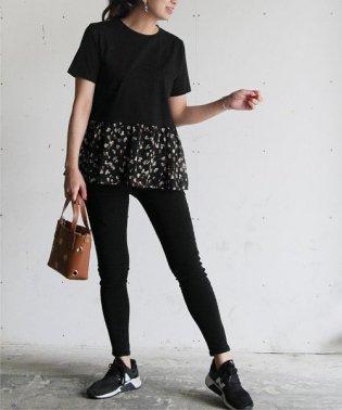 裾プリントフリルTシャツ