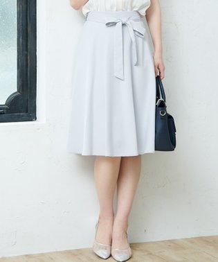 麻調リボン付きフレアスカート