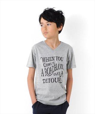 カリグラフィーロゴVネック半袖Tシャツ
