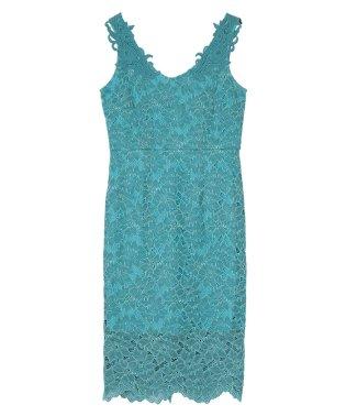 Vネックコードレースドレス