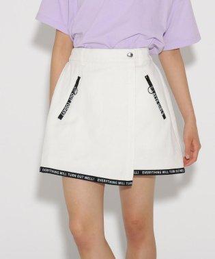 ラップ裾ロゴ スカート