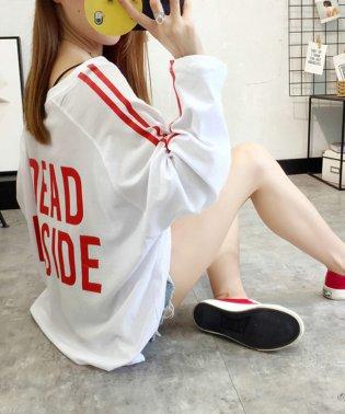 ロゴプリントサイドラインロングTシャツ