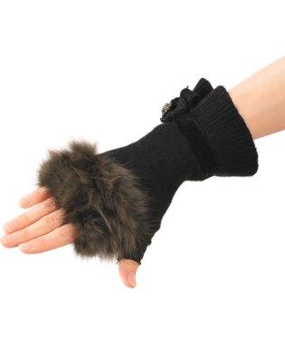セーブル & ニット 手袋 リボン カシミヤ・ウール 指なし手袋 ミトン