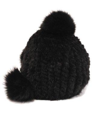ミンク 帽子 編み込み ボンボン付き