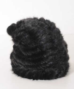 ミンク 帽子 編み込み ワッチキャップ ボンボン付き レディースモカブラウン/グレー/ブラウン/ブラック