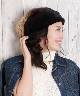 レッキス ファー 帽子 編み込み レディースグラデーション グレー系/ブラウン系 フリーサイズ