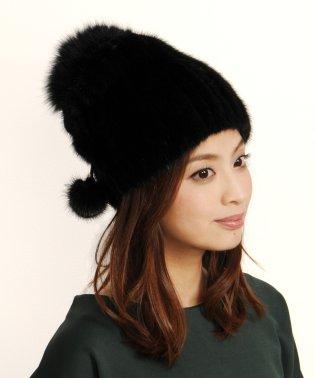 帽子 ニット ミンク フォックス ボンボン付き レディースぼうし キャップ ボウシレディス 女性用 リアルファー