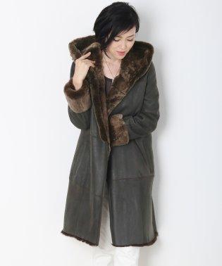 レッキス コート フード付き Wフェイス/レディース 毛皮 フード付きコート