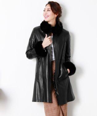 ラムレザー & レッキス ファー コート リバーシブル フォックス 着丈90cm / レディース 毛皮 ロングコート