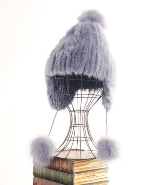 ミンク ファー ボンボン付き 帽子 フォックス レディース アガテ/モカブラウン/ダークブラウン/ブラック
