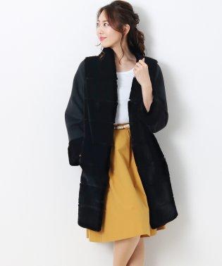 レッキス ファー & ウール コート 8分袖 ベルト付き / レディース