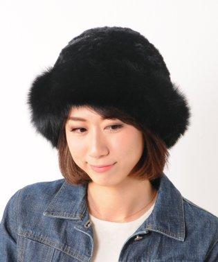 レッキス ファー 帽子 編み込み フォックス トリミング ホワイト/モカベージュ/グレー/ブラック