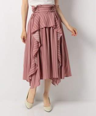 ストライプフリルロングスカート