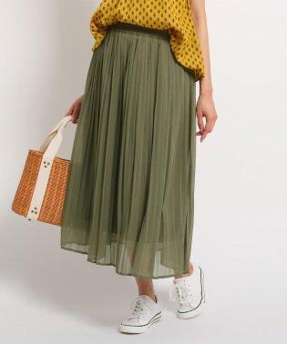 【洗える】【ウエストゴム】楊柳シフォンプリーツスカート