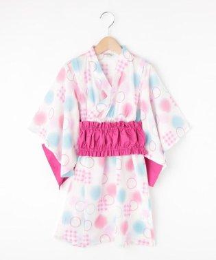 【90-140cm】ギャザー帯ドット浴衣