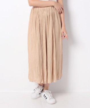 ウエストゴム仕様揺れ感軽やかサテンプリーツスカート