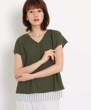 【洗える】フレンチスリーブジョーゼットシャツ