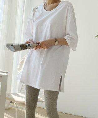 NANING9(ナンニング)サイドスリットオーバーTシャツ