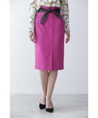 ◆レザーリボン付きフロント釦スカート