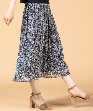 【洗濯機で洗える】ラメ楊柳小花柄プリントプリーツスカート