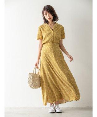 【6th anniversary】レトロフラワーロングフレアスカート