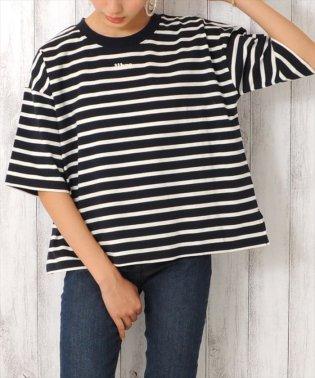 カットソーボーダー刺繍ロゴ Tシャツ