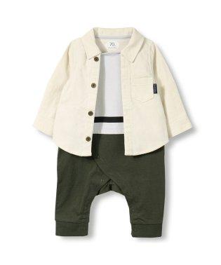 シャツレイヤード風長袖カバーオール(70~80cm)