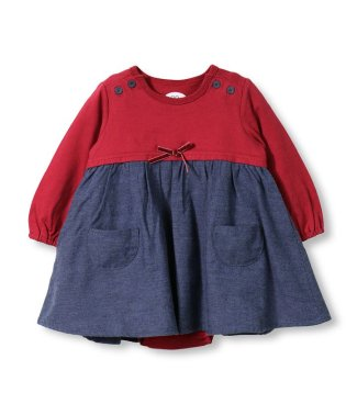ドッキングワンピ風長袖カバーオール(70~80cm)