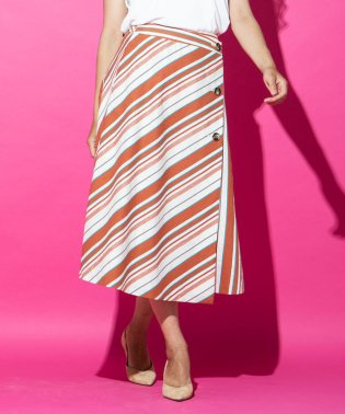 ≪大きいサイズ≫マルチストライプラップスカート