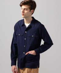 コットンリネンヘリンボーン サファリシャツジャケット
