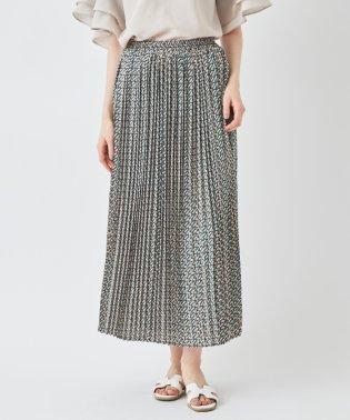 ジオメトリック柄プリーツロングスカート