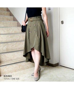 [ボトムス スカート]フィッシュテールは細見えの味方 トレンチ風アシンメトリースカート[190103]