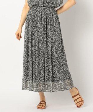 [新色追加]楊柳モノトーンプリントギャザースカート