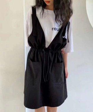 ドロストマークジャンパースカート×Tシャツセット