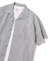 SU:【ドットエア】シアサッカー オープンカラー シャツ