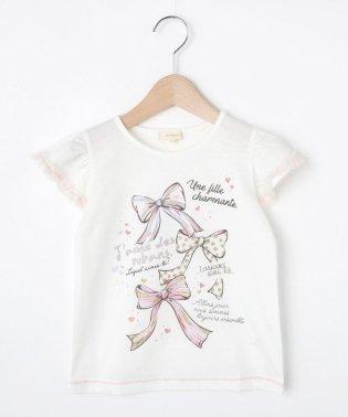 【90-140cm】吸水速乾/チュール袖リボンTシャツ