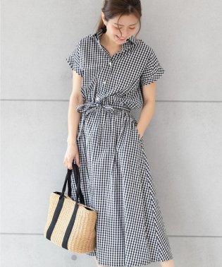 【TV着用】ギンガムチェックシャツワンピース