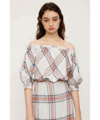 GRID CHECK OFFSHOULDER TOPS