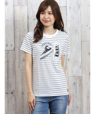 コンバース/CONVERSE ボーダーシューレース半袖Tシャツ