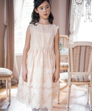 清楚なオーガンジー刺繍ドレス