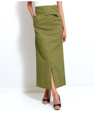 ベルト付き薄ツイルナロースカート