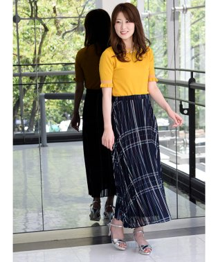 【セットアップ対応商品】シアーチェックプリーツスカート