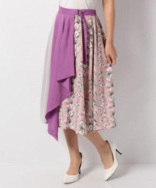 スカーフ風花柄切替スカート